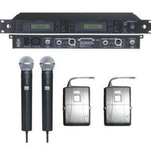 Parduodama Shure UHF radio sistema kuria sudaro resiveris 2 stoteliu ,jungtis xlr, dažnis 836-869Mhz, kartu su hand heald su beta 58 galva 2 vnr, ir MK 2 body pack 2vnt. kaina 750 eur